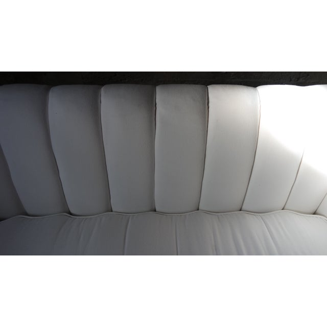 Image of White Mid-Century Tufted Sofa