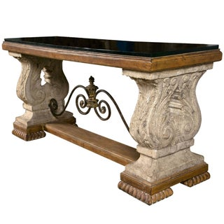 Spanish Colonial Style Stone Top Console Table