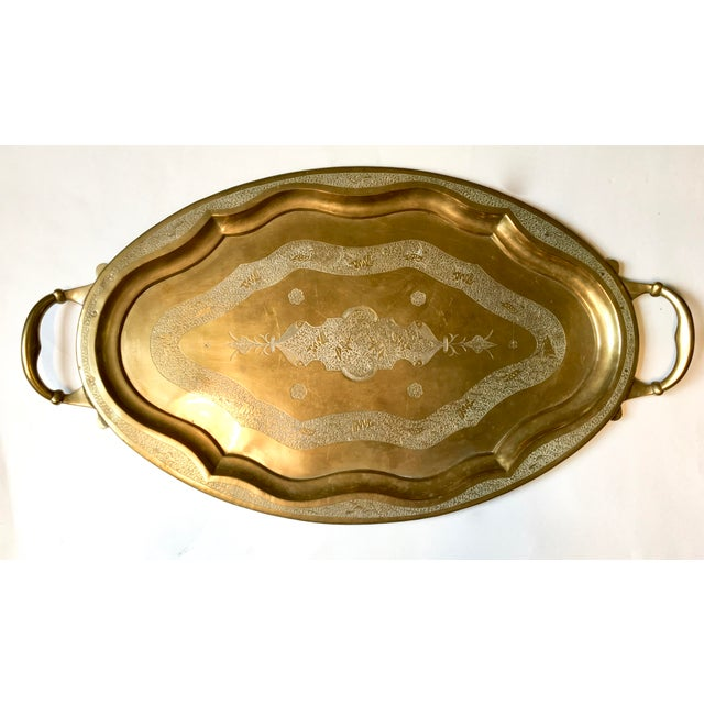 Vintage Chinese Brass Tray With Animal Etchings - Image 2 of 6