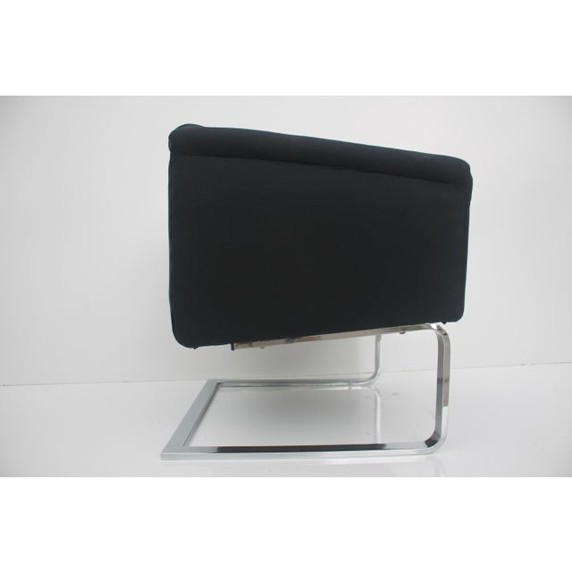 Italian Vintage Flat Bar Chrome Accent Chair - Image 7 of 11