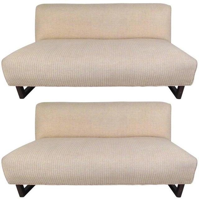 Vintage Modern Sled Leg Slipper Sofas - A Pair - Image 3 of 10