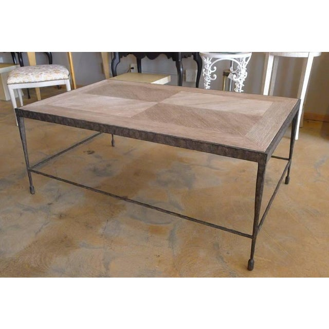 Customizable Paul Marra Textured Iron and Wood Coffee Table - Image 7 of 9