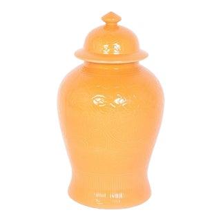 Orange Glzed Chinese Porcelain Lidded Jars