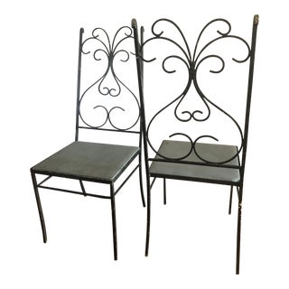 Vintage High-Back Wrought Iron Chairs - A Pair