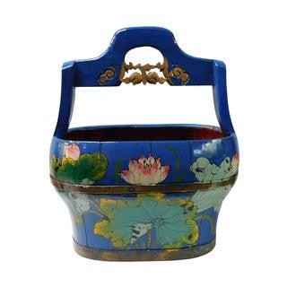 Blue Lotus Flower Wood Water Bucket