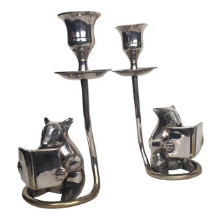 Silver Plate Mice Candleholders - A Pair