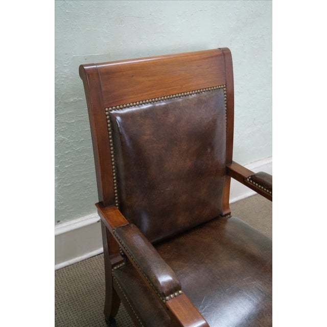 Image of Solid Mahogany Leather Regency Armchairs - A Pair