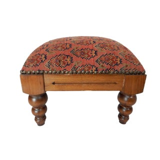 Antique Herat Rug Footstool