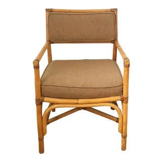 Vintage Rattan Side Chair With Leather Detailing