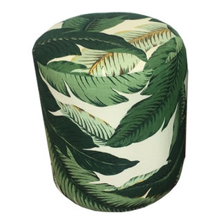 Upholstered Palm Leaf Drum Stool