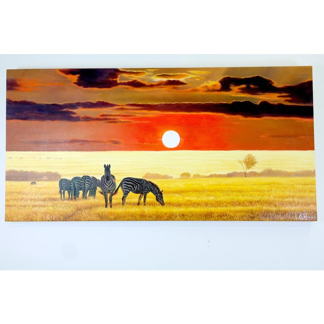 Oil Painting of Zebras at Dusk on the Savanna - Image 2 of 5