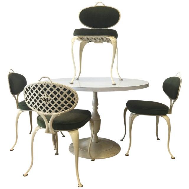 Mid century thinline bistro patio set chairish for Mid century bistro table