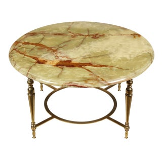 Regency Onyx Top & Brass Cocktail Table