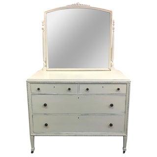 Vintage Hand Painted Dresser & Mirror