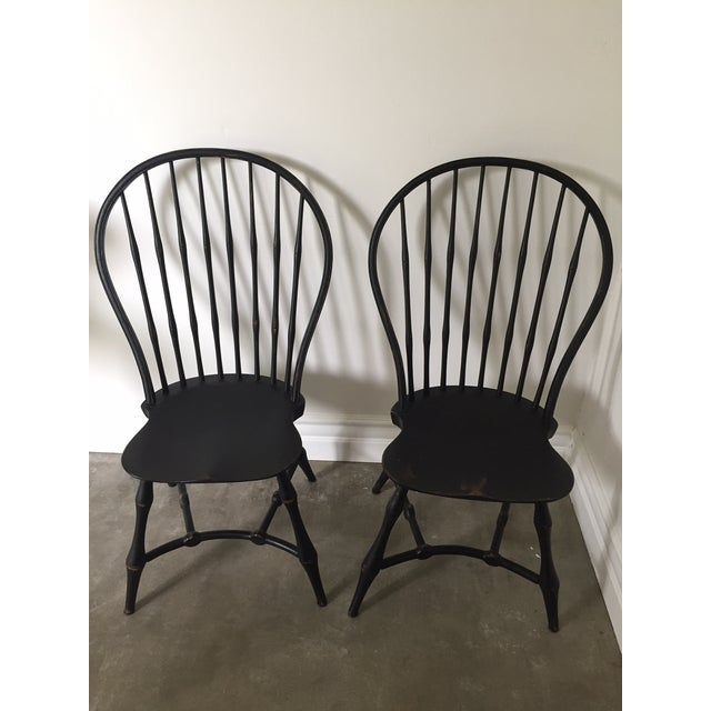 19th Century American Black New England Windsor Chairs - A Pair - Image 2 of 8