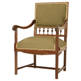 Antique French Henri II Carved & Figured Walnut Fauteuil