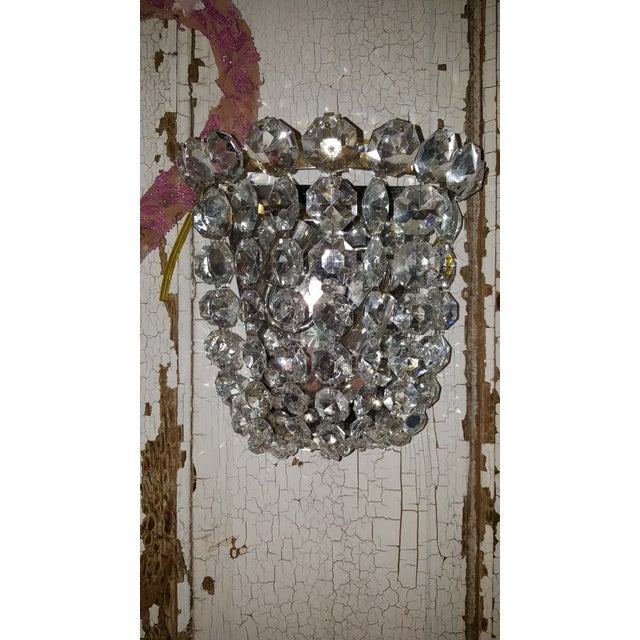 Vintage Waterfall Crystal Sconces - A Pair - Image 4 of 5