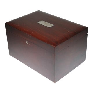 Early 20th Century Large Mahogany Humidor with Silver Plate, circa 1940s-1960s