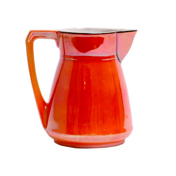 tangerine lustre art deco pitcher chairish. Black Bedroom Furniture Sets. Home Design Ideas