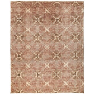 "Contemporary Blush Hand-Knotted Rug - 8'1"" x 10'"