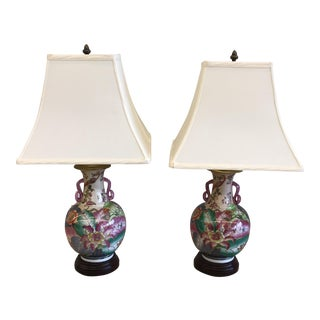 Chinoiserie Tobacco Leaf Lamps- A Pair