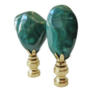 Contemporary Malachite Stone & Brass Finials - A Pair