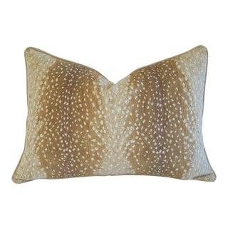 "Large Custom Fawn Speckled Spot Velvet Feather/Down Lumbar Pillow 26"" X 18"""