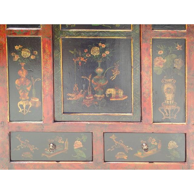 Tibetan Red Black Flower Graphic Storage Cabinet - Image 4 of 6
