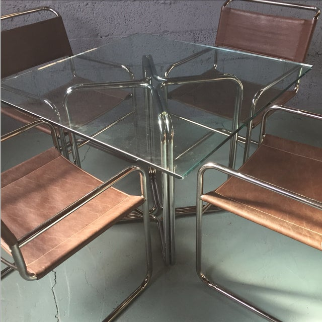 Crome & Glass Cantilever Dining Set - Image 3 of 11