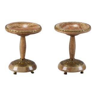French Art Nouveau Marble & Bronze Tazzas - A Pair
