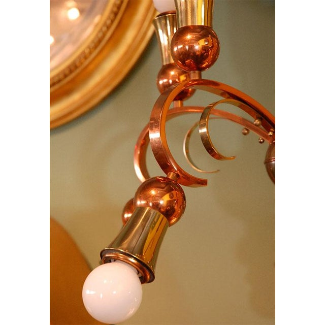 Brass and Copper Chandelier - Image 5 of 10