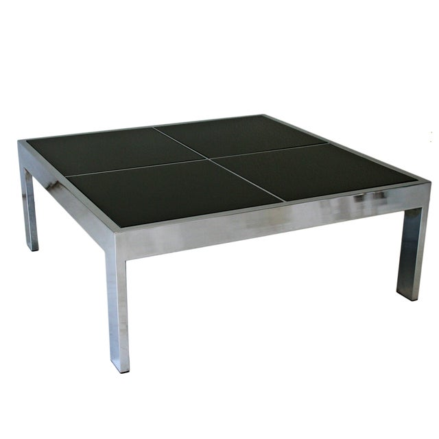 Pace chrome black marble coffee table chairish Black and chrome coffee table