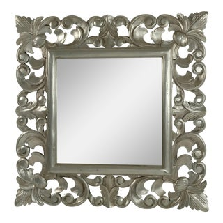 Italian Hand-Carved Silverleaf Mirror