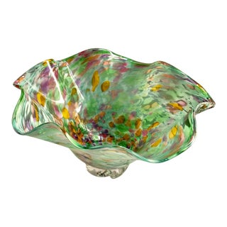 Large Mid-Century Murano Confetti Splatter Art Glass Centerpiece Bowl