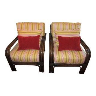 Pair of Pierce Martin Bamboo Accent Chairs & Pillows