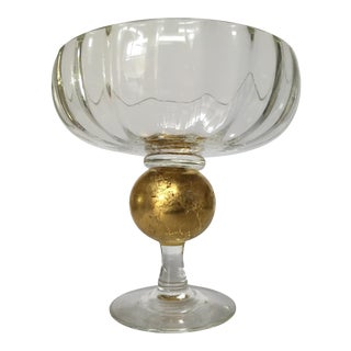 Signed Glass & Gold Leaf Compote