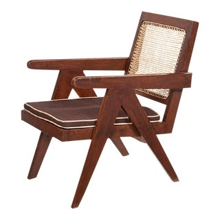 Pierre Jeanneret Wood & Caning Low Lounge Chair