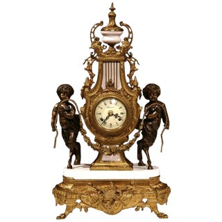 Italian Carved Bronze & Marble Clock With Patinated Cherubs