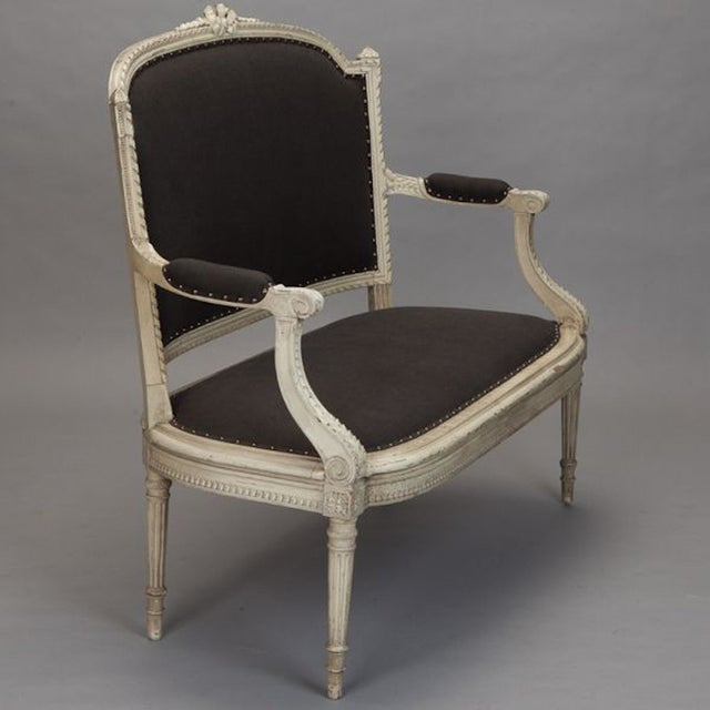 French Cream Painted Settee, Dark Gray Upholstery - Image 4 of 7