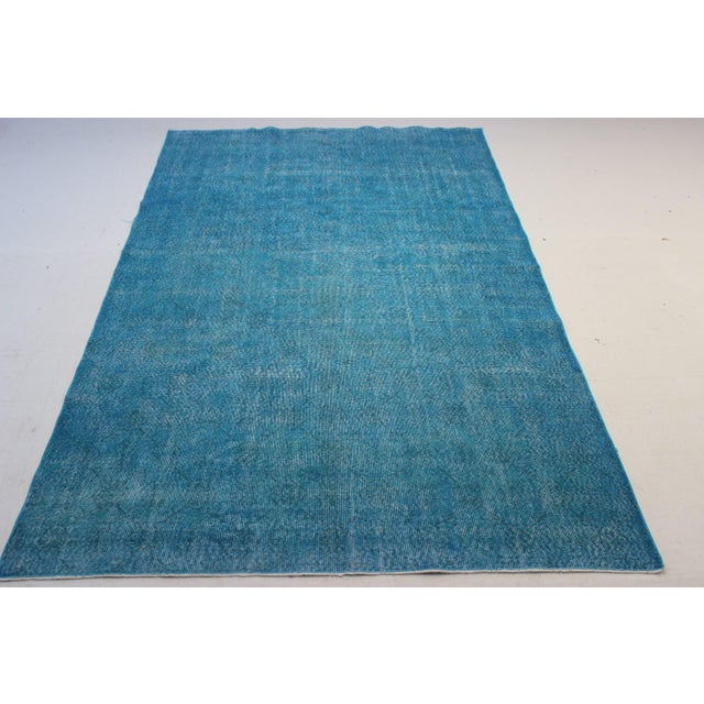 "Turquoise Turkish Over-Dyed Rug - 6'7"" X 10'10"" - Image 3 of 8"