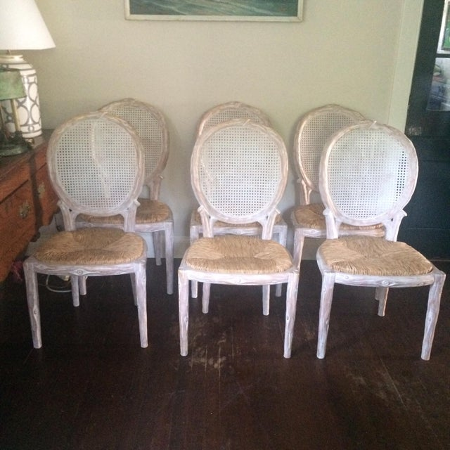 Faux Bois Dining Chairs Set Of 6 Chairish