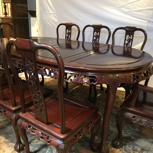 Ling Chi Rosewood Dining Table & 8 Chairs Set - Image 4 of 10