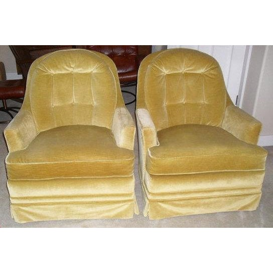 Hollywood Regency Gold Velvet Arm Chairs - Pair - Image 2 of 6