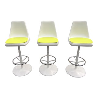 Vintage Tulip Base Swivel Bar Stools - Set of 3