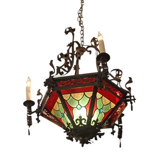 Victorian Wrought Iron & Stained Glass Chandelier
