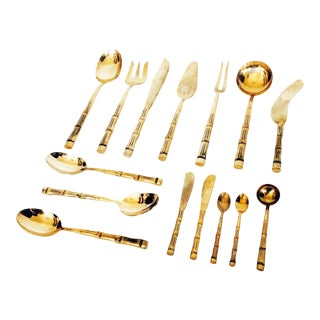 Mid-Century Golden Bamboo Serving Set - 15 Pieces