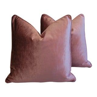 Scalamandre Grape Purple Velvet Down & Feather Pillows - Pair