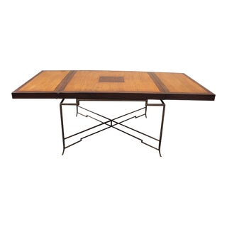 Long French Mid Century Solid Mahogany Dining Table With Brass Legs Circa 1950s