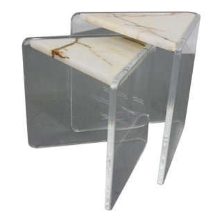 Enrique Garcel Marble & Lucite Stacking Triangle Tables - A Pair