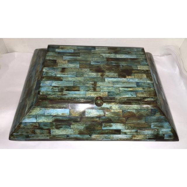 Rare Mid-Century Large Aqua Blue Tessellated Wood Box - Image 5 of 9